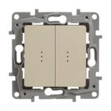 ETIKA Выключатель двухклавишный с подсветкой слоновая кость 10АХ
