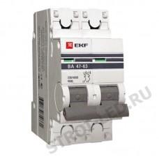 Выключатель автоматический двухполюсный 25А С ВА47-63 4.5кА PROxima